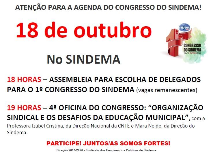 Cartaz  18 de outubro - Assembleia e Oficina Congresso
