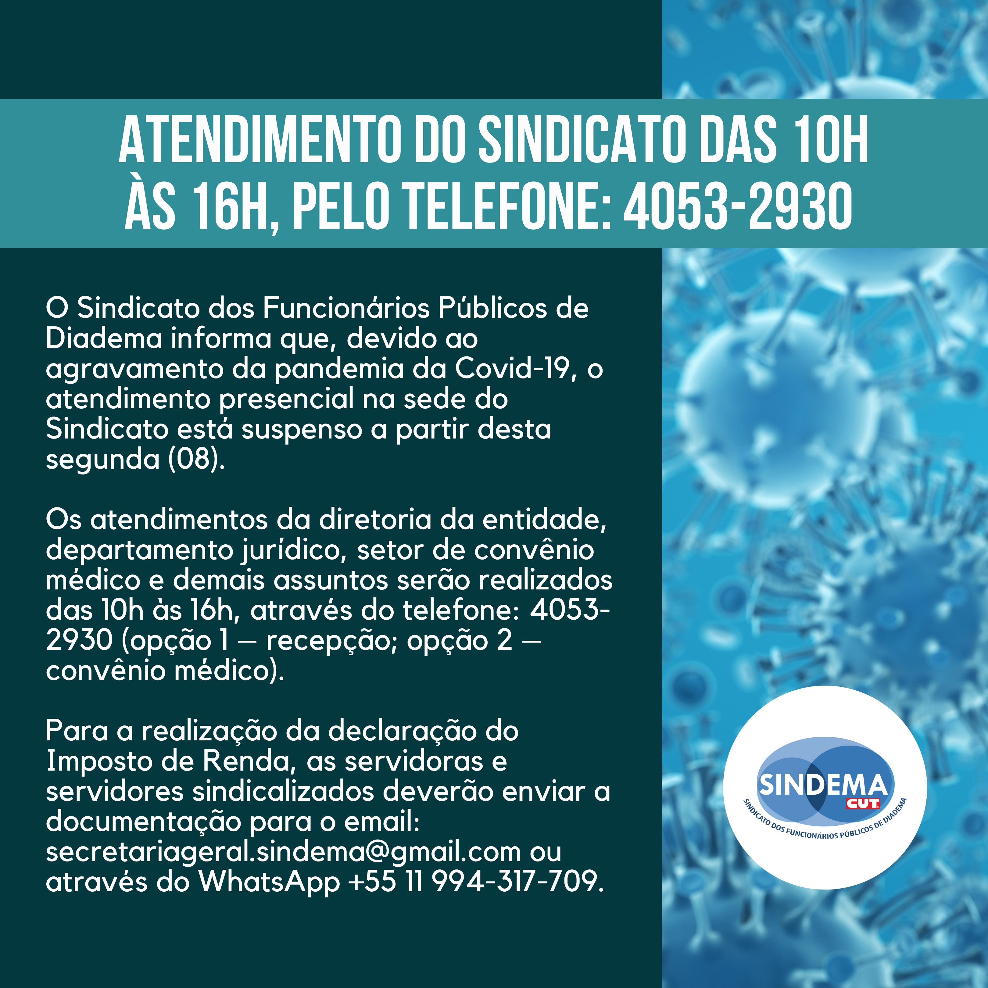 Sede do Sindema estará fechada devido à pandemia. Atendimento será por telefone.