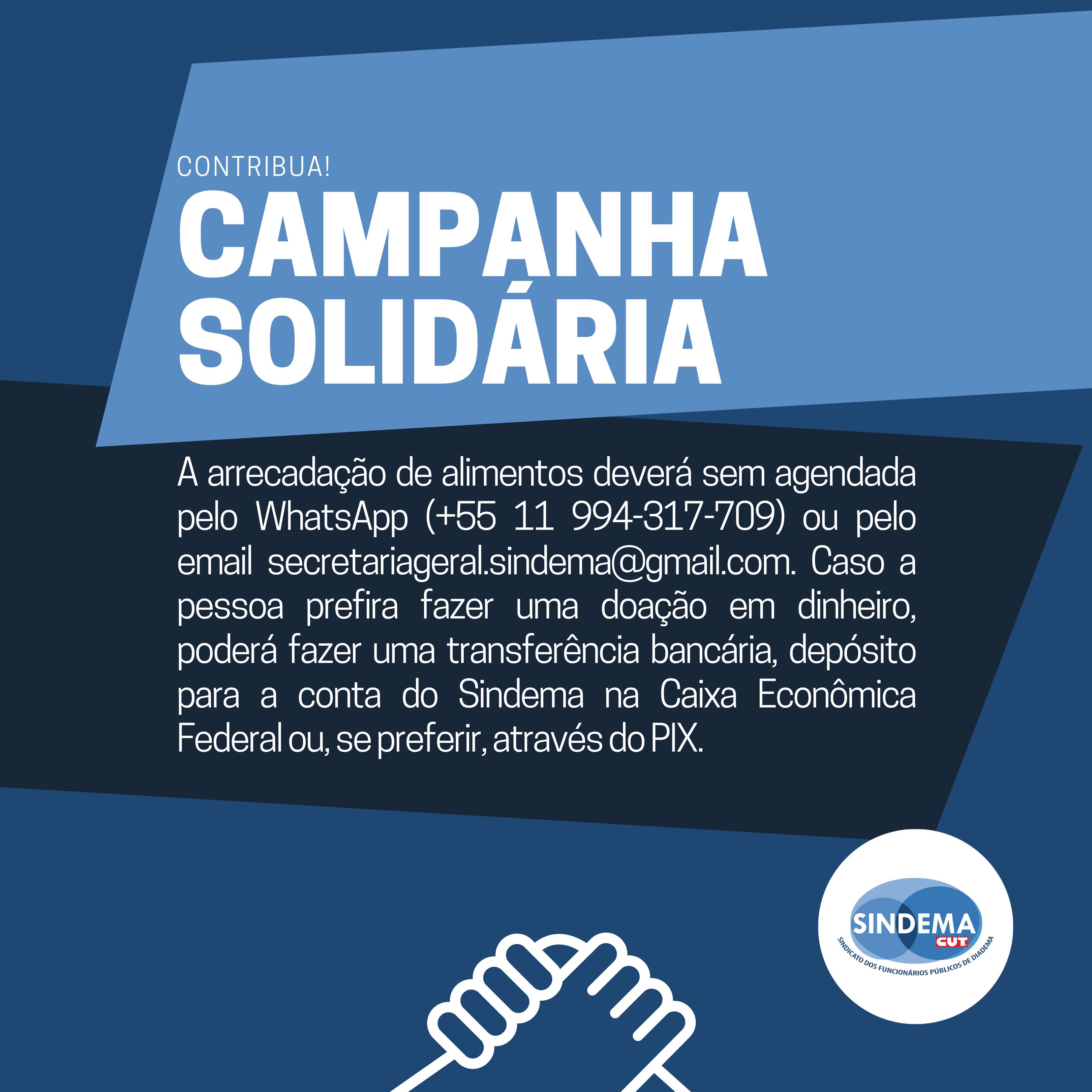 Campanha de Solidariedade agora aceita PIX.