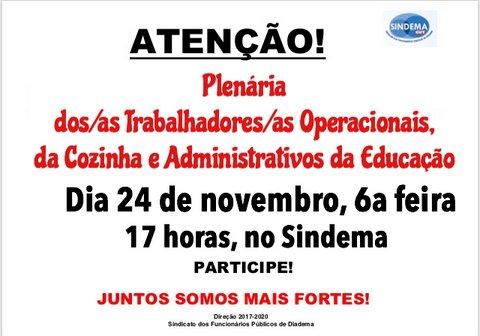 Plenária Trabalhadores/as Operacionais, da Cozinha e Administrativos da Educação