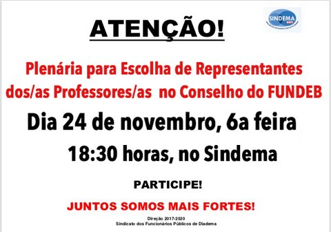 Plenária escolha de representantes dos/as professores/as no FUNDEB